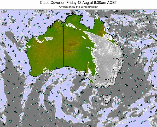 South-Australia Cloud Cover on Tuesday 28 May at 9:30am CST map
