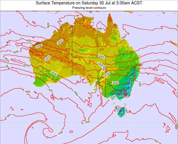 South-Australia Surface Temperature on Tuesday 29 Jul at 9:30pm CST