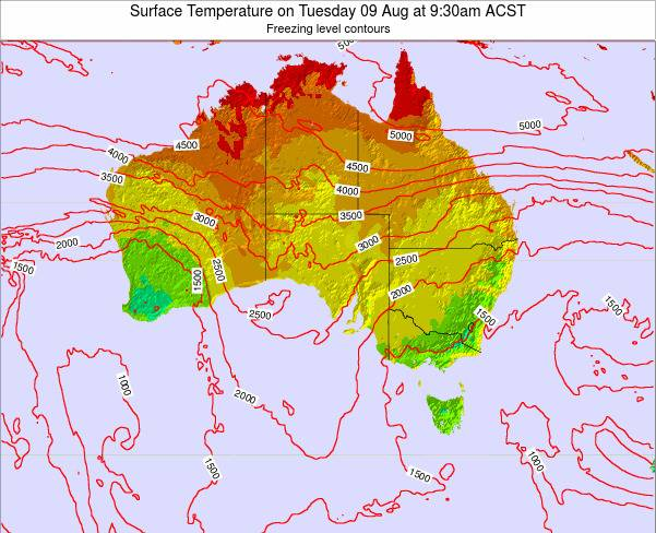 South-Australia Surface Temperature on Wednesday 25 Apr at 9:30pm ACST map