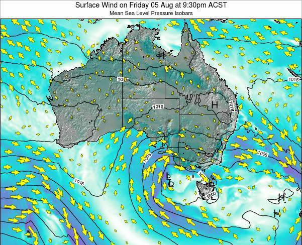 South-Australia Surface Wind on Wednesday 27 Mar at 4:30pm ACDT map