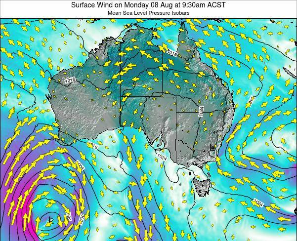 South-Australia Surface Wind on Wednesday 19 Dec at 4:30am ACDT map