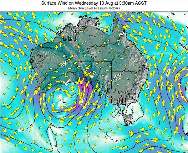 South-Australia Surface Wind on Monday 28 Jul at 3:30pm CST