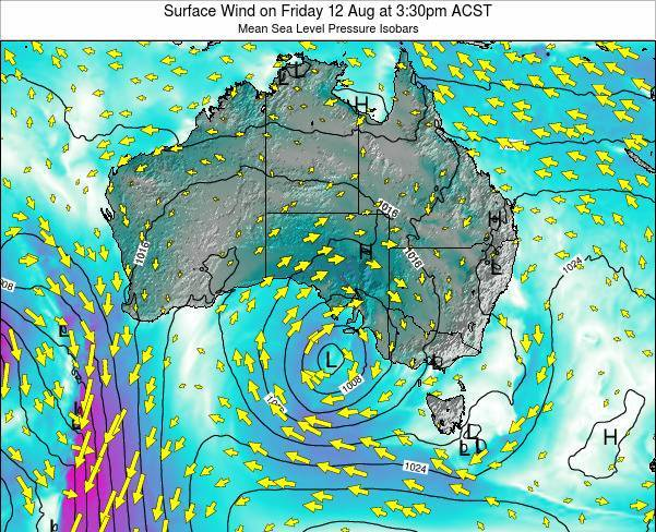 South-Australia Surface Wind on Tuesday 05 Aug at 9:30pm CST