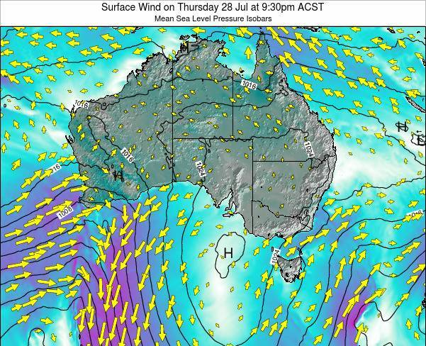 South-Australia Surface Wind on Tuesday 16 Feb at 10:30pm ACDT