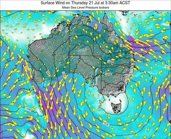 South-Australia Surface Wind on Wednesday 11 Dec at 4:30am CST