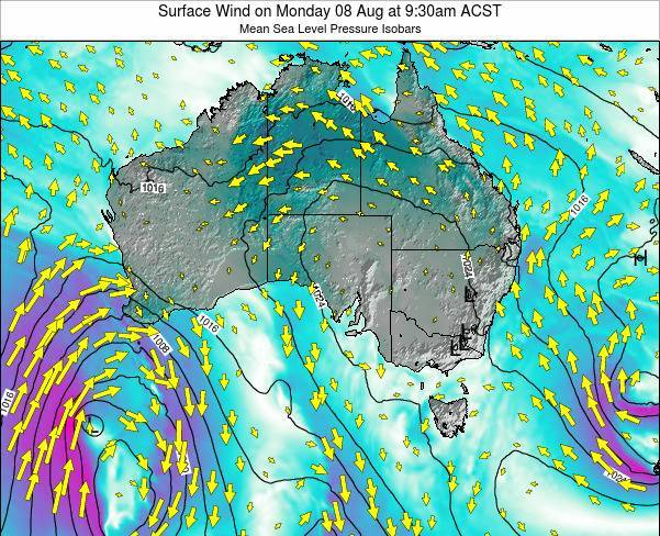 South-Australia Surface Wind on Wednesday 23 May at 9:30pm ACST map