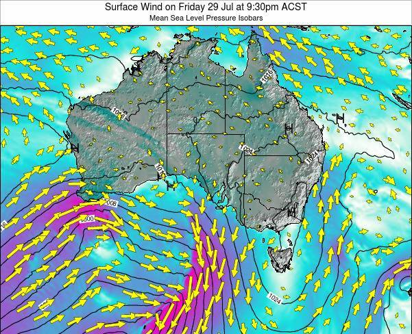 South-Australia Surface Wind on Sunday 24 Feb at 10:30pm ACDT map