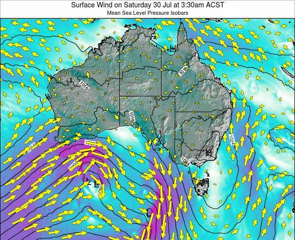 South-Australia Surface Wind on Tuesday 25 Jun at 9:30pm CST