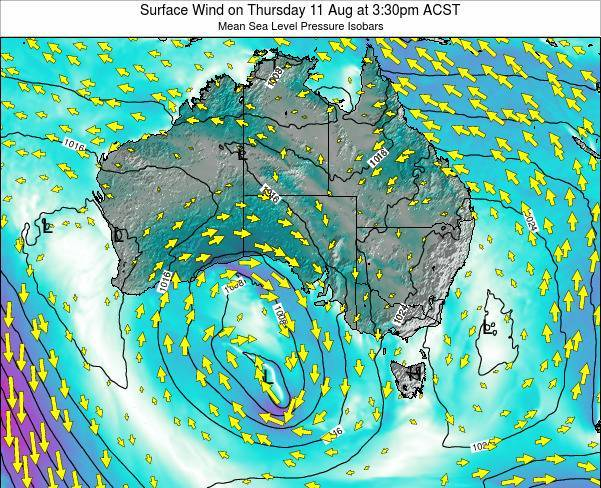 South-Australia Surface Wind on Thursday 28 Feb at 4:30pm ACDT map