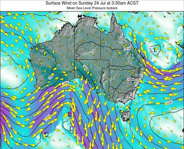 South-Australia Surface Wind on Tuesday 25 Jun at 3:30pm CST