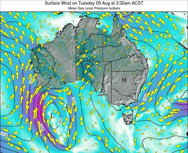 South-Australia Surface Wind on Tuesday 30 Jul at 3:30pm ACST map