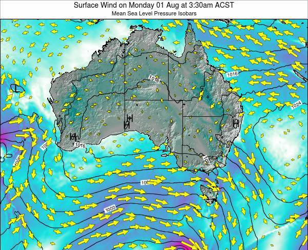 South-Australia Surface Wind on Friday 01 Jun at 9:30am ACST map