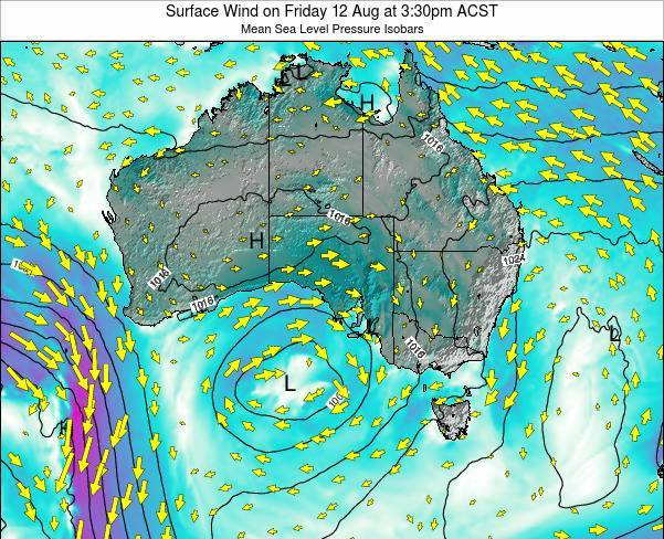 South-Australia Surface Wind on Saturday 25 May at 9:30am CST