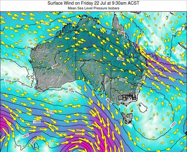 South-Australia Surface Wind on Wednesday 27 Feb at 4:30pm ACDT map