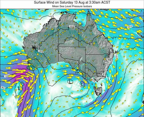South-Australia Surface Wind on Monday 26 Nov at 10:30am ACDT map