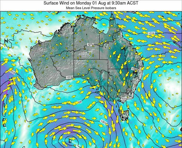 South-Australia Surface Wind on Thursday 01 May at 3:30pm CST
