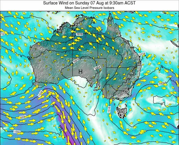 South-Australia Surface Wind on Wednesday 19 Mar at 4:30pm CST