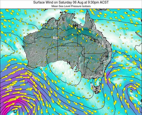 South-Australia Surface Wind on Sunday 15 Dec at 10:30pm CST