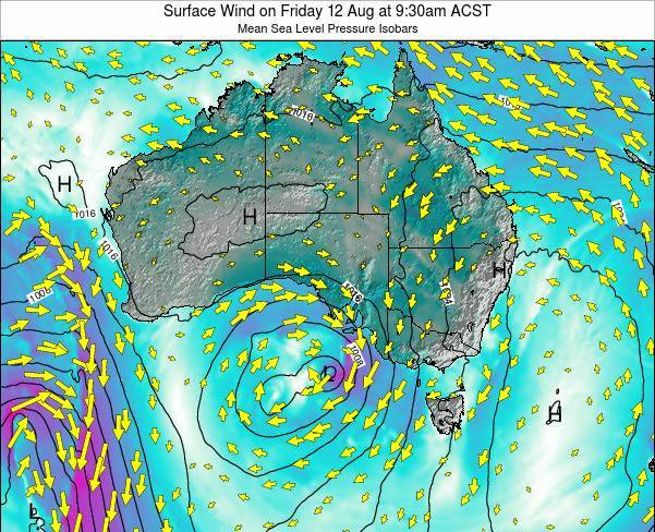 South-Australia Surface Wind on Saturday 09 Aug at 3:30am CST