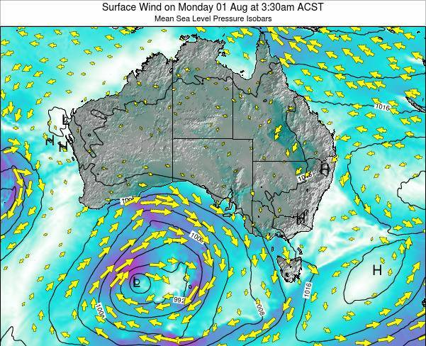 South-Australia Surface Wind on Saturday 02 May at 3:30am CST