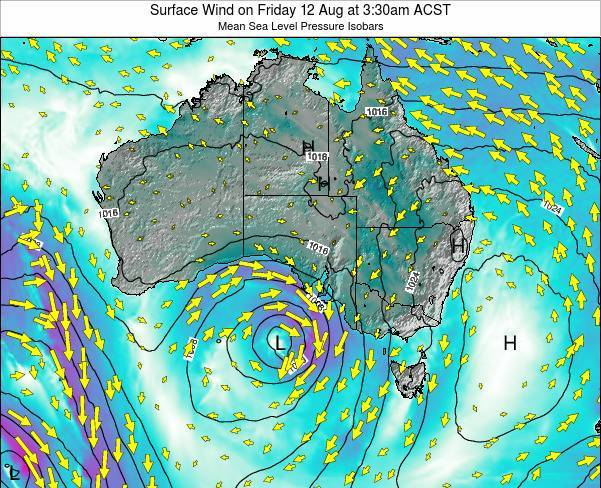 South-Australia Surface Wind on Wednesday 23 Apr at 3:30pm CST