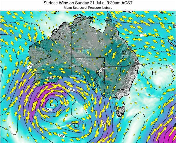 South-Australia Surface Wind on Wednesday 03 Jun at 9:30pm CST