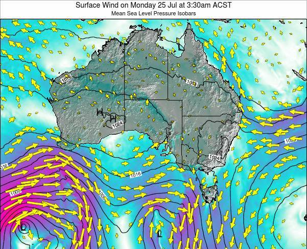 South-Australia Surface Wind on Friday 26 Jan at 10:30pm ACDT map
