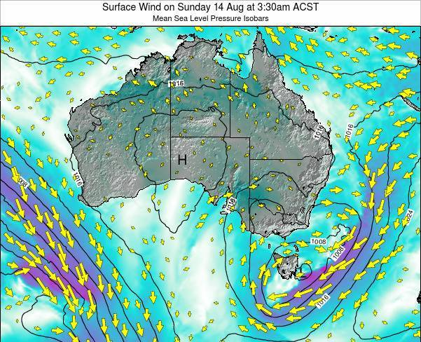 South-Australia Surface Wind on Friday 14 Mar at 4:30pm CST
