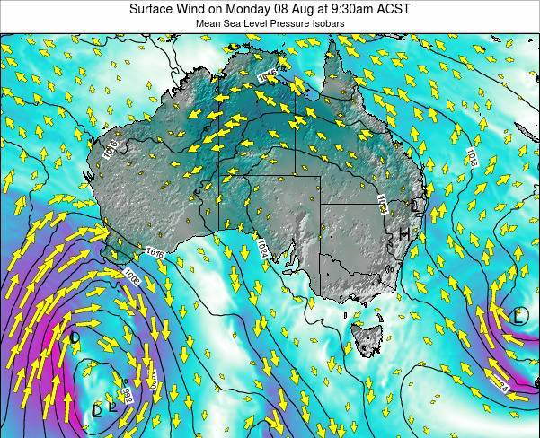 South-Australia Surface Wind on Wednesday 12 Mar at 4:30am CST