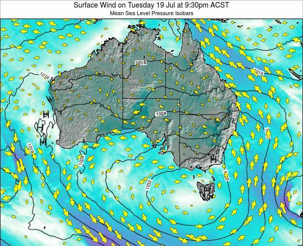 South-Australia Surface Wind on Friday 25 Apr at 9:30am CST