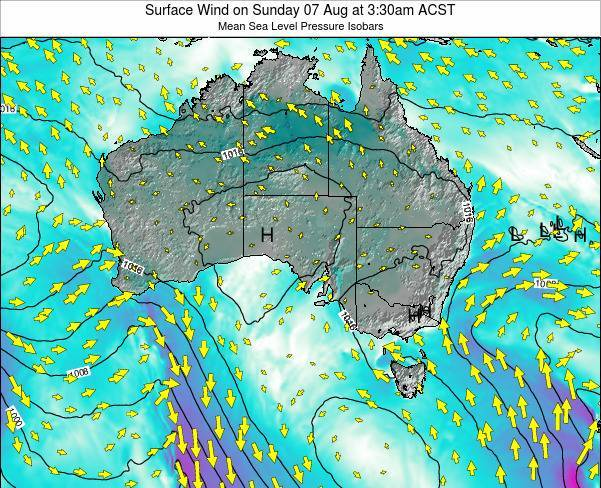 South-Australia Surface Wind on Wednesday 30 Jul at 9:30am CST