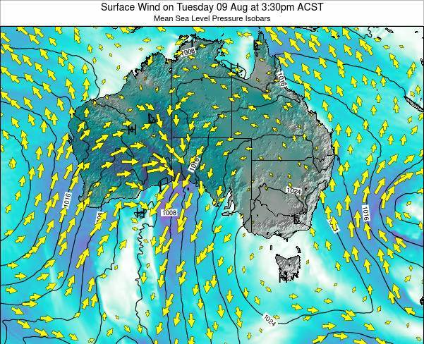 South-Australia Surface Wind on Tuesday 10 Dec at 4:30pm CST