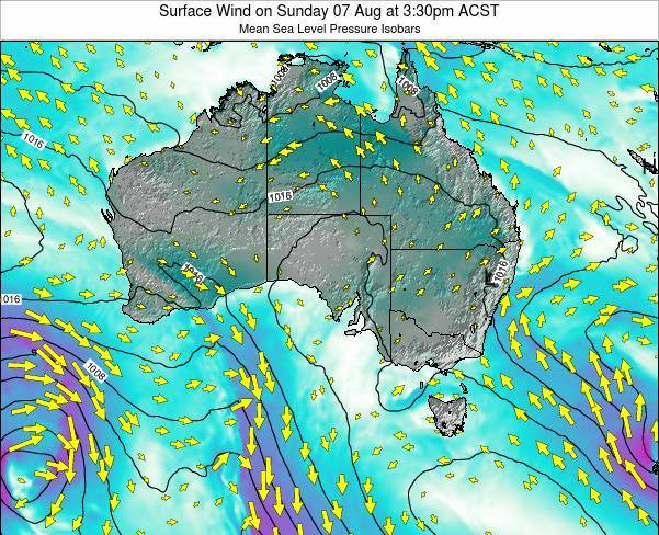 South-Australia Surface Wind on Tuesday 22 Jan at 4:30pm ACDT map