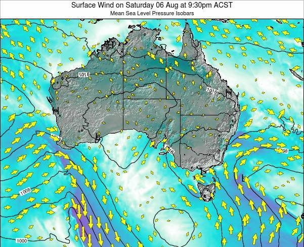 South-Australia Surface Wind on Friday 01 Aug at 3:30pm CST