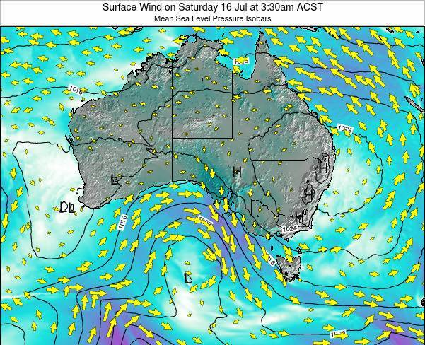 South-Australia Surface Wind on Saturday 26 Jul at 3:30pm CST