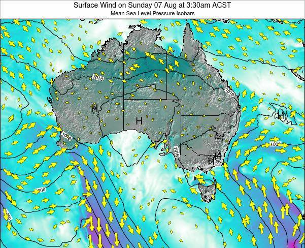 South-Australia Surface Wind on Sunday 08 Dec at 4:30am CST