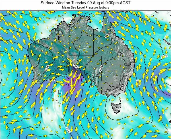 South-Australia Surface Wind on Thursday 24 Apr at 3:30pm CST