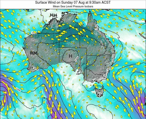 South-Australia Surface Wind on Tuesday 22 Apr at 3:30am CST