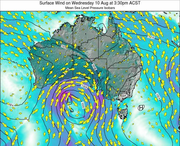 South-Australia Surface Wind on Saturday 26 May at 3:30pm ACST map