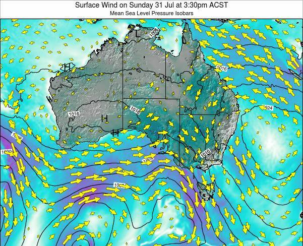 South-Australia Surface Wind on Friday 25 Jan at 10:30am ACDT map