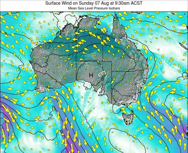 South-Australia Surface Wind on Wednesday 26 Sep at 9:30am ACST map