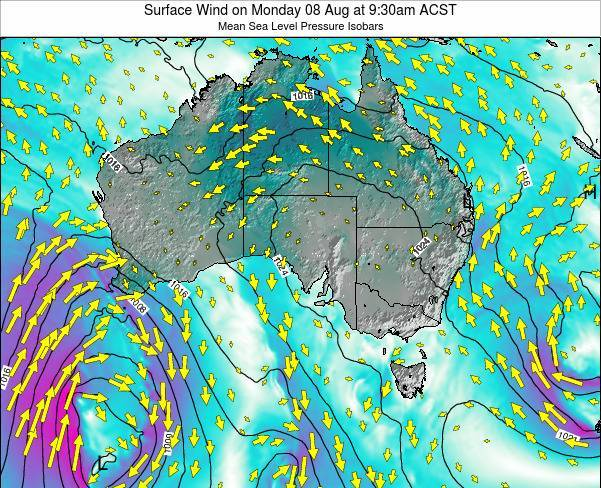 South-Australia Surface Wind on Monday 20 May at 9:30pm CST