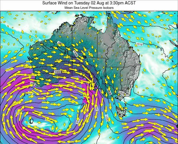 South-Australia Surface Wind on Tuesday 23 Sep at 3:30pm CST