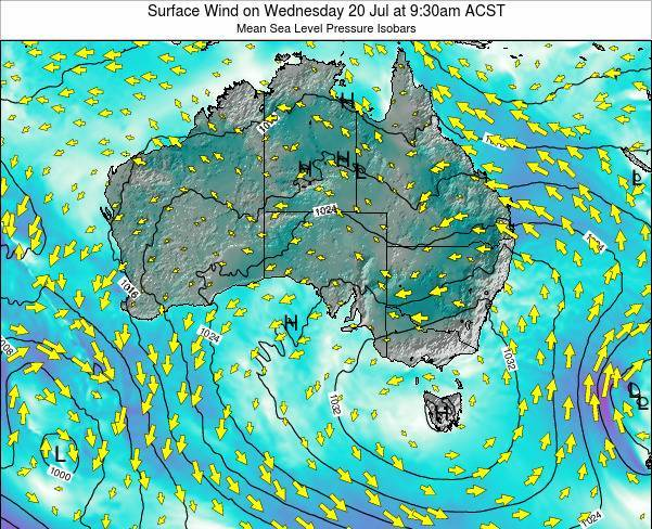 South-Australia Surface Wind on Thursday 31 Jul at 3:30pm CST