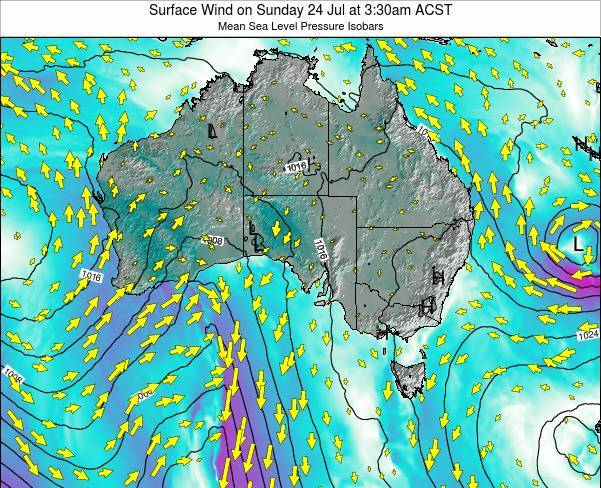 South-Australia Surface Wind on Monday 09 Dec at 4:30am CST
