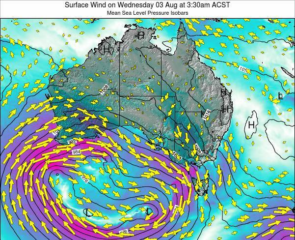 South-Australia Surface Wind on Thursday 24 Jul at 9:30am CST