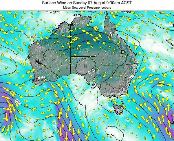 South-Australia Surface Wind on Thursday 28 Jul at 9:30pm ACST