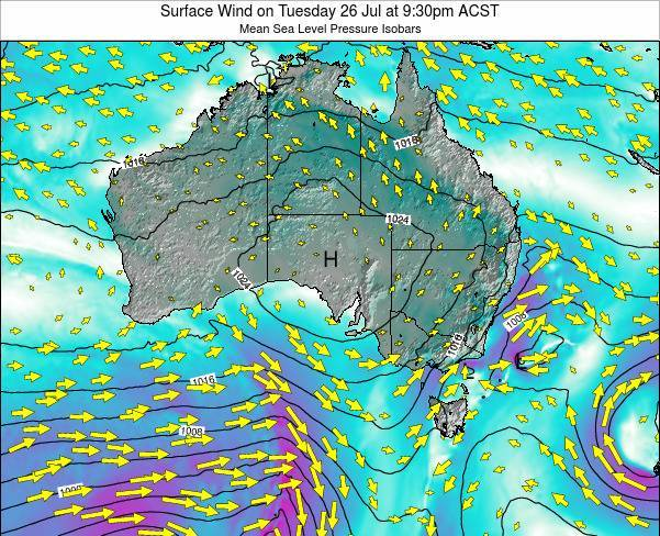 South-Australia Surface Wind on Sunday 24 Feb at 10:30am ACDT map