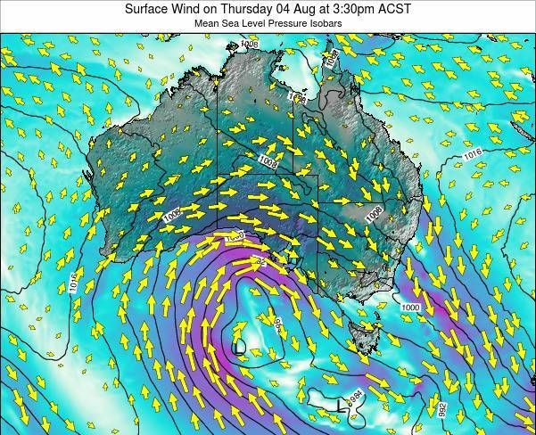 South-Australia Surface Wind on Monday 27 May at 9:30pm CST