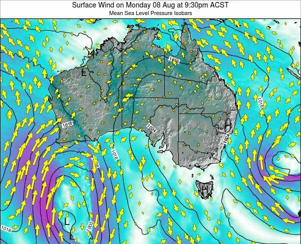South-Australia Surface Wind on Wednesday 23 Apr at 9:30pm CST